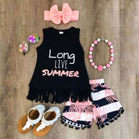 US Toddler Baby Kids Girl Tank Vest Tops T-Shirt+Short Pants Outfit Set Clothes