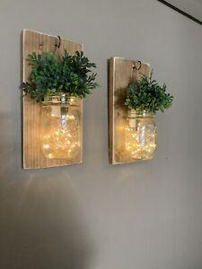2 rustic Mason Jar farmhouse Hanging wall decor W/Lights - Wall Sconces.