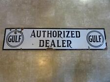 Vintage Porcelain GULF Dealer Gas Station Sign > Antique Auto Oil Service 8268