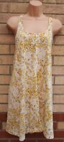 H&M WHITE YELLOW FLORAL STRAPPY LONG BAGGY TOP TUNIC BLOUSE CAMI VEST S 8 10