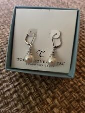 NWT touchstone crystal swarovski  pearl earrings
