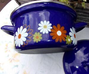 Vintage Blue Enamel Pan Dish ~ 2 Handles LID ~1970s Retro Flowers Kitchenalia