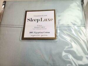 CHARTER CLUB SLEEP LUXE 700 TC FULL SHEET SET IN GREEN SATEEN WEAVE COTTON