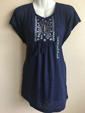 New Gap Women's Embroidered Tassel Tee Loose Fit Runs Big Medium Linen Tunic nvy