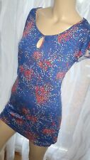 AJ Blue multicolor cap sleeve By- South summer top blouse size S 8-10 casual