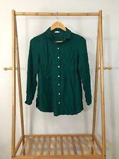 J. Jill Women's Green Button Front Rayon Long Sleeve Shirt Size S