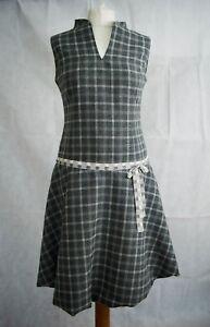 Designer Grey Checked Drop Waist Dress V Neck Sleeveless Size S 8 Blogger Trend