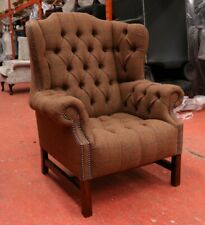CHESTERFIELD BLOOMSBURY QUEEN ANNE HIGH BACK WING CHAIR BROWN 100% WOOL FABRIC