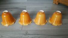 4 Vintage Colour Lamp Shades vintage yellow white enamel inside