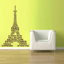 Wall Vinyl Sticker Decal Eiffel Tower Decal Paris France Words Quote Sign Z1077