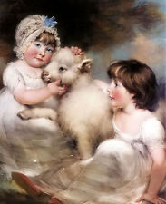 Oil painting john russell - portrait of miss e. and miss l. earle with a lamb