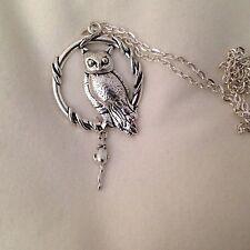 """Grandi TIBETAN SILVER Barn Owl con il mouse COLLANA 24 """""""