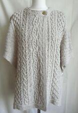 ARAN CRAFTS Stone Linen Cotton Cable Knit Tunic Jumper Cardigan Tabard M L NEW!