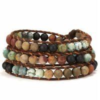 Fashion Natural Stone Leather Braided Wristband Beaded Wrap Bracelet Bangle Gift