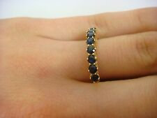 18K YELLOW GOLD HIGH SET SAPPHIRE BAND-RING 3.3 GRAMS SIZE 7.5