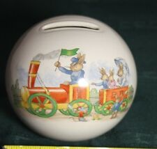 Royal Doulton Piggy Bank 1936 Bunnykins Rabbits Train Caboose Stopper Bunnies