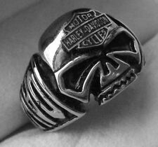 HARLEY DAVIDSON SKULL & SHIELD BIKER RING  - STAINLESS STEEL - SIZE 12