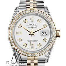 Ladies Rolex Stainless Steel / 18K Gold 36mm Datejust Watch White 8+2 Diamond