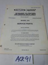 SERVICE PARTS MANUAL FARM EQUIPMENT BOOK BUTLER ENSILMIXER MODEL 370