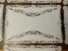 7 Antique Vintage Italian Placemats White Linen Lace Inserts Open Work