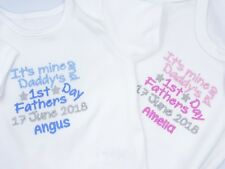 Personalised Embroidered MINE & DADDYS HAPPY 1ST FATHERS DAY BABY BIB GROW VEST