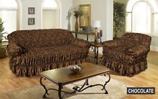 Jacquard Sofa Cover Settee Cover 2 Seater CHOCOLATE BROWN Elastic Fitting