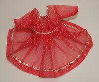 Vtg Factory Organdy SALMON PINK Polka Dot Dress Silver Trim For LMR Jill Friends