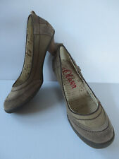 s.OLIVER ° chice Pumps Gr. 38 braun gemustert Leder Damen Mode Schuhe Halbschuhe