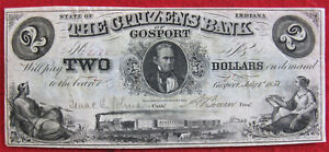 Citizens Bank of Gosport Indiana, 1857 $2 Obsolete Bank Note - Beautiful!