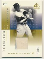 2001 SP Game Used Authentic Fabric #MM Mickey Mantle Game Used Jersey E10530