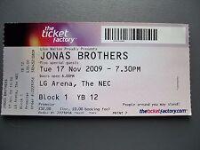 JONAS BROTHERS  LG ARENA  17/11/2009  TICKET UNUSED
