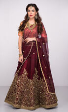 Silk Maroon Lehenga Choli Embroidered Designer Indian Wedding Wear Saree Sari