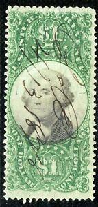 USA Revenue Stamp $1 High Value GEORGE WASHINGTON Used {samwells-covers}Y2WHITE3