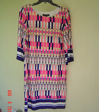 NWT MADISON LEIGH NAVY PINK CAREER SHIFT DRESS SIZE 16 $89