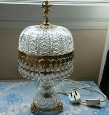 More details for antique brass crystal light lamp baroque rococo cherub figurine capodimonte