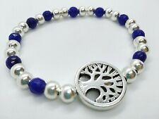 Pulsera cuentas azules con charm arbol de la vida plata tibetana elastica 18 cm