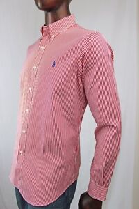 Ralph Lauren Long Sleeve Dress Shirt Red And White Stripes Blue Pony~NWT~
