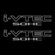 [#206] Two(2) Silver HONDA I-VTEC SOHC Car Decal Vinyl Window Wall Sticker JDM