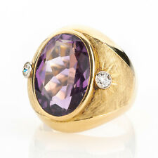 Vintage ring (14k gold) with an amethyst and diamonds