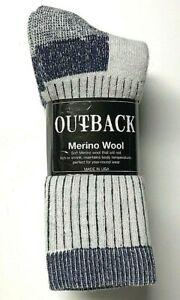 3 Pairs Premium  Merino Wool & Acrylic Gray w/ Blue Bottom Crew Sock SZ10-13.USA