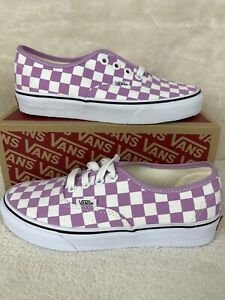 Vans Checkerboard Authentic Womens Sz 6 Sneakers - Orchid/True White Lace Up