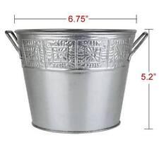 NEW Galvanized Silver Metal Bucket (Planter Style) - Gift Basket Wedding Display