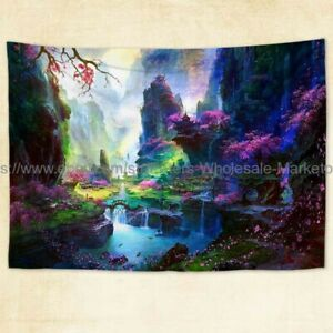 Fantasy mountain tree flower landscape river Oriental tapestry cloth poster