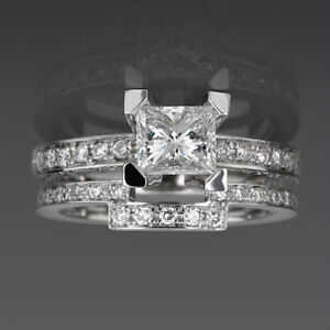 MARRIAGE BAND SET DIAMOND RING SI1 D 14K WHITE GOLD CERTIFIED COLORLESS 2.14 CT