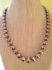 Swarovski crystal elements Necklace 8mm Jewelry Rose Gold In Antique Silver New