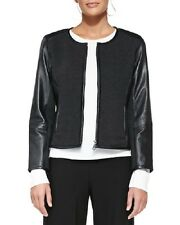 NWT Eileen Fisher CHARCOAL Felted Merino Knit w/Black Leather Jacket 2X $618