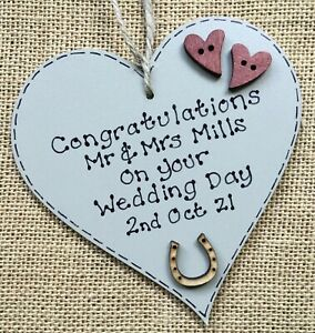 Congratulations On Your Wedding Day Gift personalised Wooden Heart Keepsake Mr &