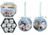 Set of 14 Traditional Christmas Santa Snowman Baubles Tree Balls Decoration Box