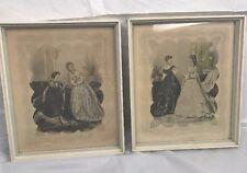Vintage Framed La Mode Illustree Victorian Fashion  Print Lithograph lot of 2