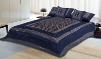 Indian Made 5 PC Complete Silk Brocade Beautiful Printed Bed Sheet Bed Cover Set